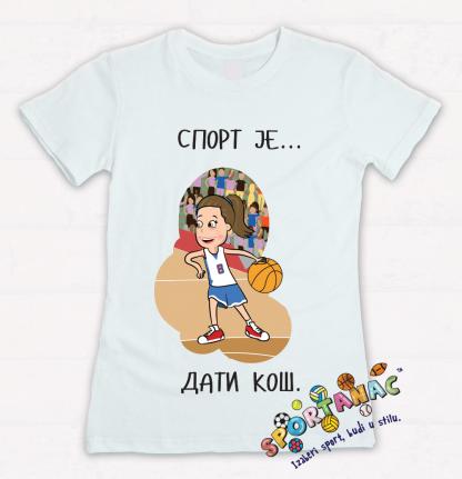 Dečije majice sa sportskim ilustracijama, košarka sport je dati koš.