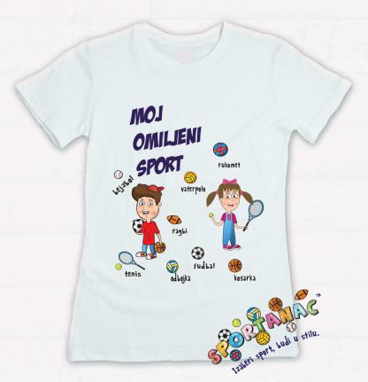 Dečije majice moj omiljeni sport, sportanac majice za decu. Sportske ilustracije za vaše mališane