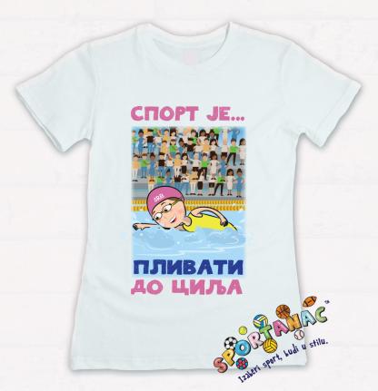 Majice za devojčice plivanje, sport je plivati do cilja. Kvalitetne majice sportanac za decu sa sportskim ilustracijama