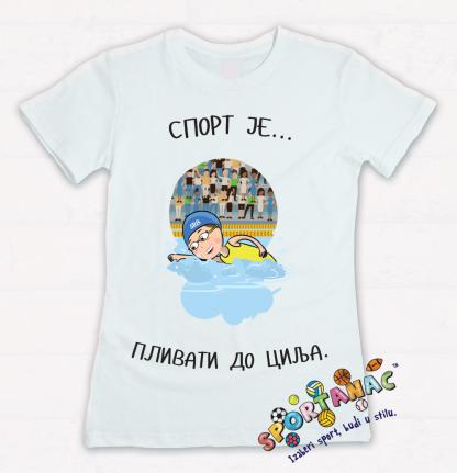 Majice za devojčice sport je plivati do cilja, sportanac majice za decu sa sprotskim ilustracijama