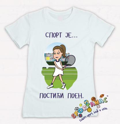 Dečije majice sa sportskim ilustracijama, teniserka sport je postići poen. Poučne poruke o sportu na sportanac majicama