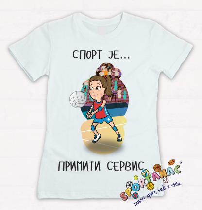 Majice za devojcice odbojka, sport je primiti servis. Sportanac majice za decu sa sportskim ilustracijama.