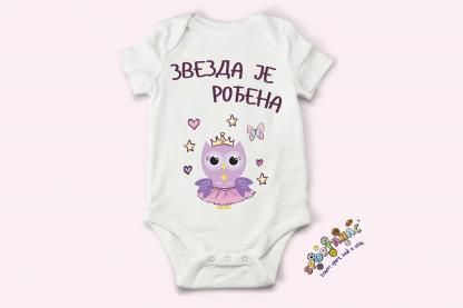 Bodići za bebe sa natpisima, slatka sova balerinica zvezda je rođena.