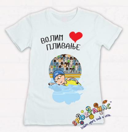Majice za devojčice volim plivanje, sportanac dečije majice za decu