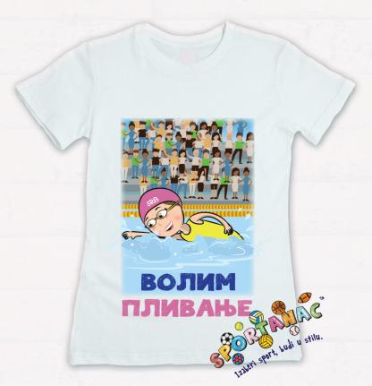 Majice za devojčice volim plivanje, kvalitetne majice za devojčice sa sportskim ilustracijama