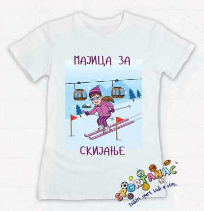 Dečije majice za skijanje, pamučne majice za devojčice sa sportksim ilustracijama