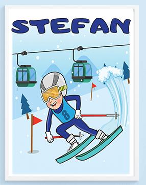 Posteri za decu, Stefan skijaš. Sportanac posteri za decu.