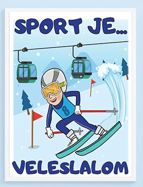 Skijaški posteri za decu, sport je veleslalom. Sportanac posteri za decu