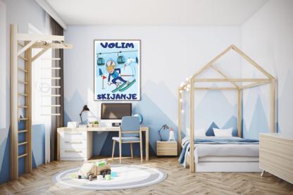 Volim skijanje poster za decu. Posteri za dečije sobe sportanac