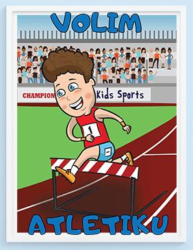 Volim atletiku poster za decu. Dečija ilustracija dečak atletičar