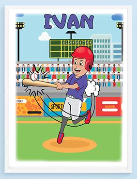 Ivan igra bejzbol poster, personalizovani posteri za vaše mališane. Sportanac posteri