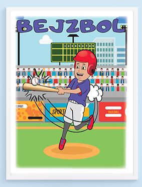 Bejzbol sportanac posteri za dečije sobe, izaberite sportske postere za vaše mališane