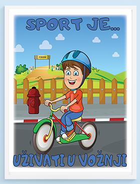 Mali biciklista se smeje, poster za dečije sobe. Sportanc posteri