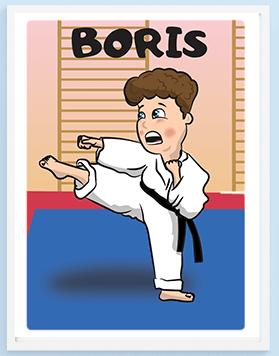 Posteri za dečije sobe Boris karatista. Sportanac posteri