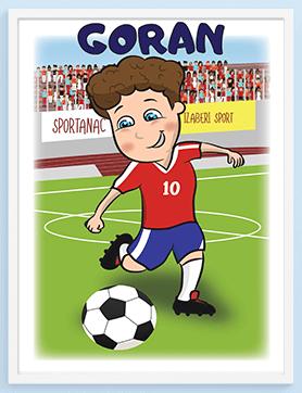 Poster fudbaler za dečake, mogućnost personalizacije svakog postera za vaše mališane