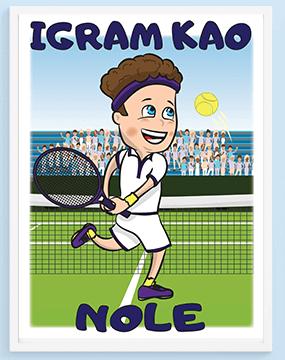 Igram kao Nole poster za decu. Sportanac posteri za decu sa sportskim ilustracijama za vaše mališane