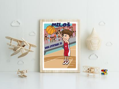 Miloš košarkaš poster za dečije sobe.