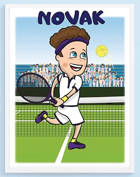 Poster za dečije sobe Novak teniser. Sportanac posteri za decu sa sportskim ilustracijama