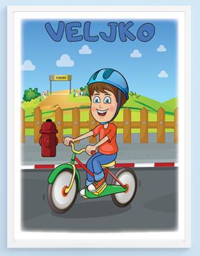 Veljko biciklisa posteri za decu