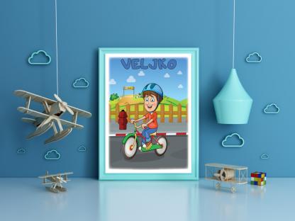 Veljko biciklista, sportski posteri za vaše mališane moguća personalizacija postera. Sportanc posteri