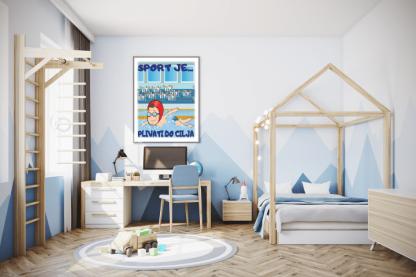 Posteri za decije sobe, plivanje sport je plivati do cilja