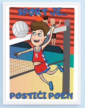 Posteri za dečije sobe odbojka, sport je postići poen. Sportanac posteri