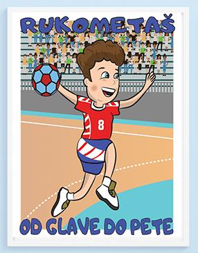 Posteri za dečije sobe, posteri za decu, sportanac, decije ilustracije, sport za decu, rukomet