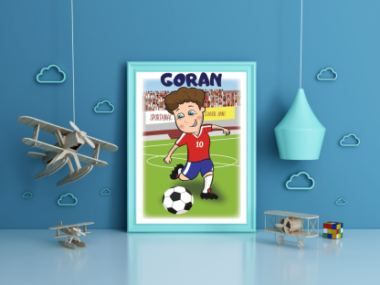 Posteri za dečije sobe fudbaler, personalizovana izrada postera za dečije sobe