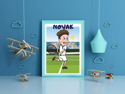 Teniser Novak poster za dečije sobe.