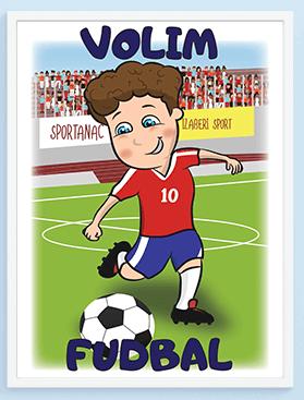 Volim fudbal posteri za dečije sobe sportanac
