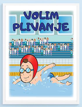 Posteri za dečije sobe volim plivanje