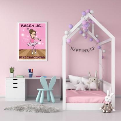 Posteri za dečije sobe balerina, balet je biti graciozan. Posteri sportanac.