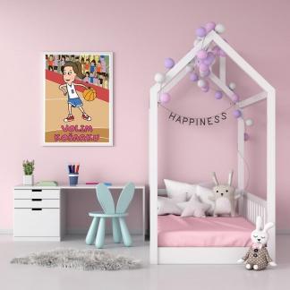 Poster za dečije sobe košarkašica. Sportanac bojanka
