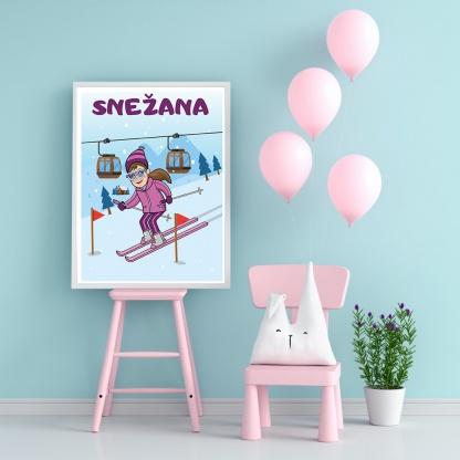Snežana skijanje poster za dečije sobe sportanac