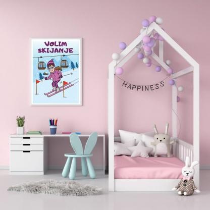 Poster za dečiju sobu devojčice. Volim skijanje
