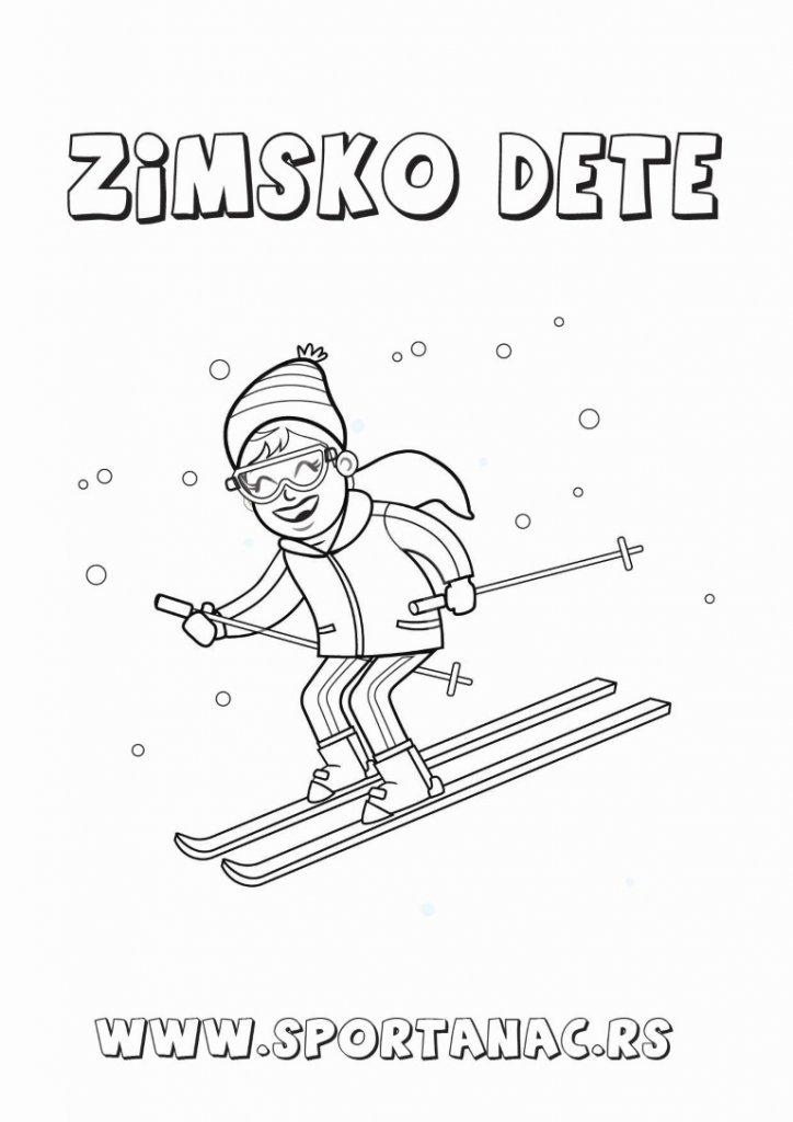 Bojanka za decu skijašica, sportske bojanke sa kojima će se vaši mališani upoznati sa sportovima
