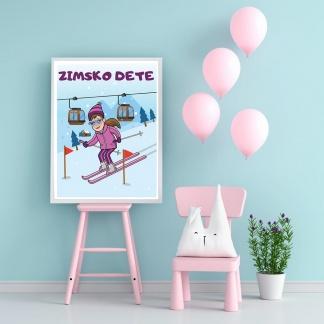 Poster za dečiju sobu devojčice. Zimsko dete skijanje