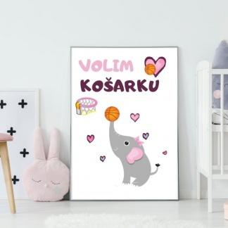 Posteri za dečije sobe košarkašica slonica. Zanimljive sportske ilustracije koje će ulepšati prostor vaših mališana. Sportanac posteri