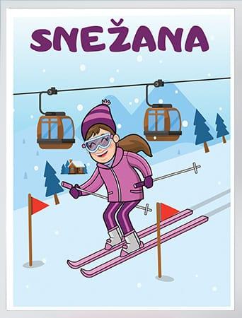Poster devojčica skijanje. Izaberite postere za vaše mališane. Sportanac posteri
