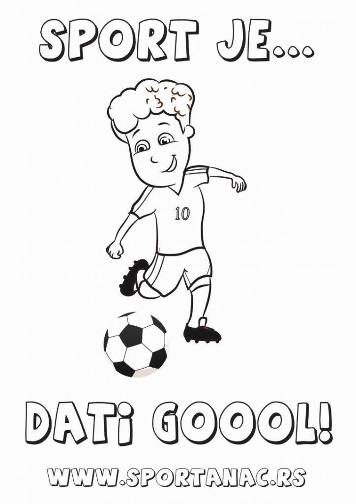 Bojanka za decu sportanac fudbaler, izaberite za vaše mališane sportske bojanke koje će ih upoznati sa sportovima na kreativan način