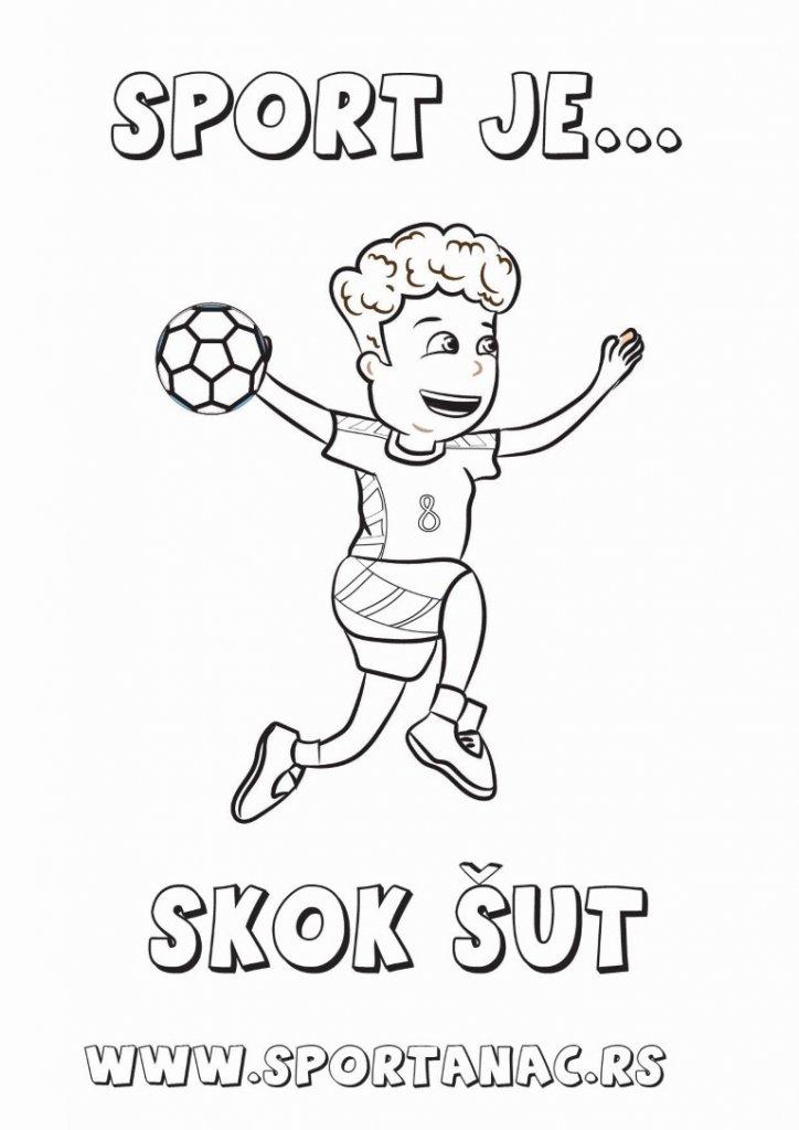 Bojanka za decu sportanac rukometaš, izaberite za vaše mališane sportske bojanke koje će ih upoznati sa sportovima na kreativan način