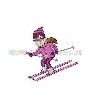 Dečije sportske ilustracije skijašica. Izaberi sport