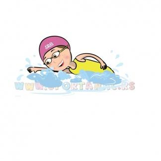 Dečije sportske ilustracije plivanje devojčica. Sportanac. Izaberi sport budi u stilu