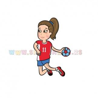 Dečija sportska ilustracija rukometašica. Online prodavnica Sportanac