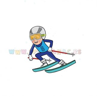 Sportske ilustracije za decu, skijanje. Sportanac