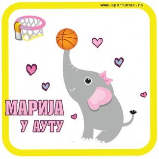 Stiker za auto slonica košarkašica
